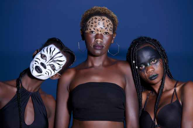 three women with animal face makeups